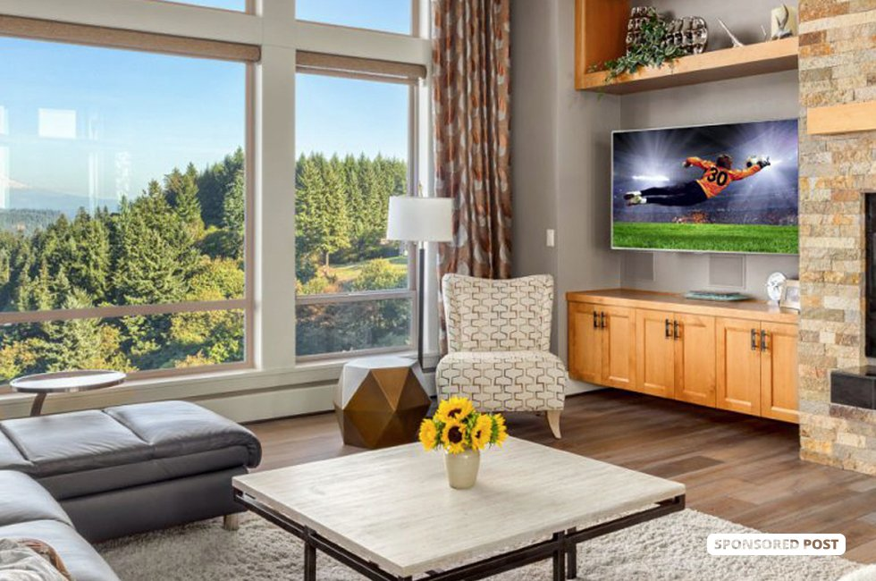 Living Room in Luxury Home with Amazing Mountain View