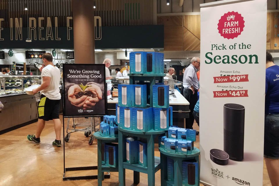 Farm Fresh Speakers? Amazon Echo and Echo Dot in Whole Foods