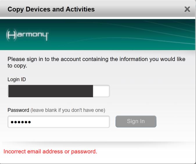 Harmony login my com Update Account