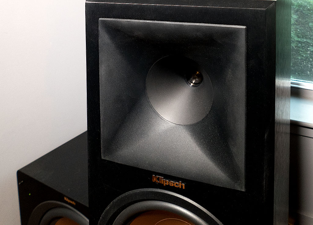 klipsch used speakers. klipsch says the rubber used to make horn reduces resonances that can result in a harsh sound. speakers