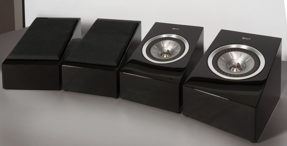 kef r100. kef r50 atmos modules, seen here with and without magnetically-attached cloth grills. kef r100