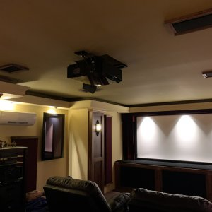 View of ceiling and atmos speakers.