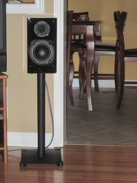 fyi take a look at this link from the sanus website click on image - Sanus Speaker Stands