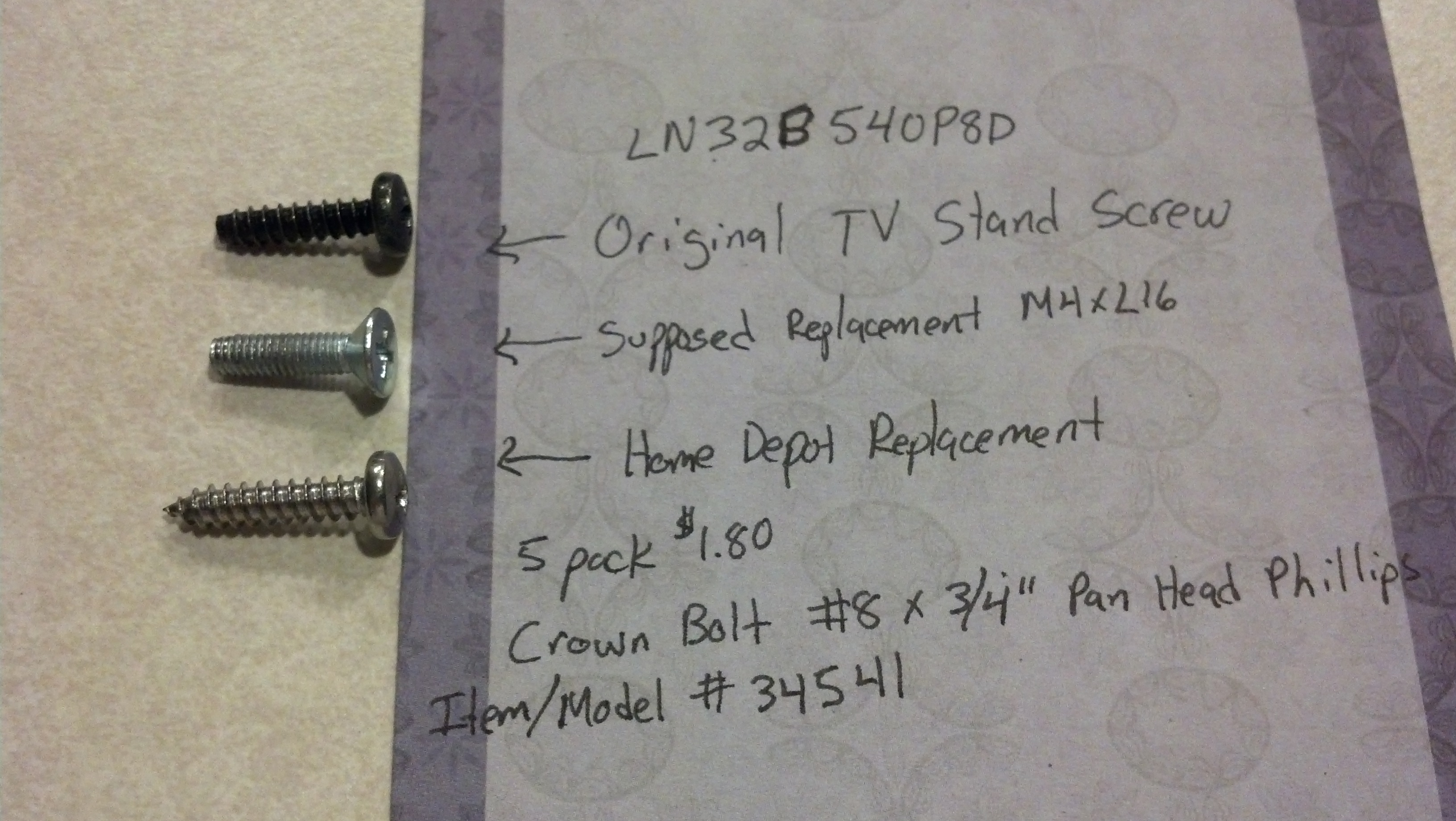 vizio tv stand replacement screws. can anyone help me identify this screw size for my tv stand? - avs forum | home theater discussions and reviews vizio stand replacement screws