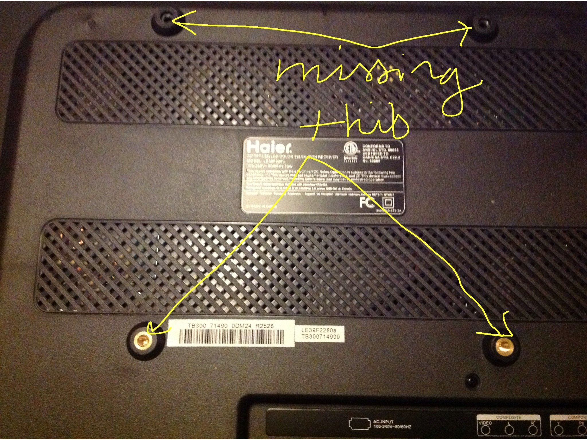 Haier LE39F2280 mounting - AVS Forum | Home Theater Discussions And