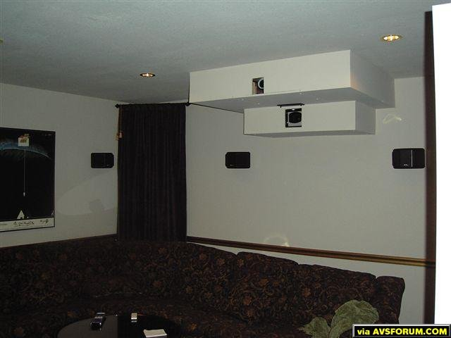 Another view of the seating and built in projector soffit. Note Axoim QS4 speakers. This was my previous home theater with an NEC HT1000 and a H79 running on 2 electric screens!!