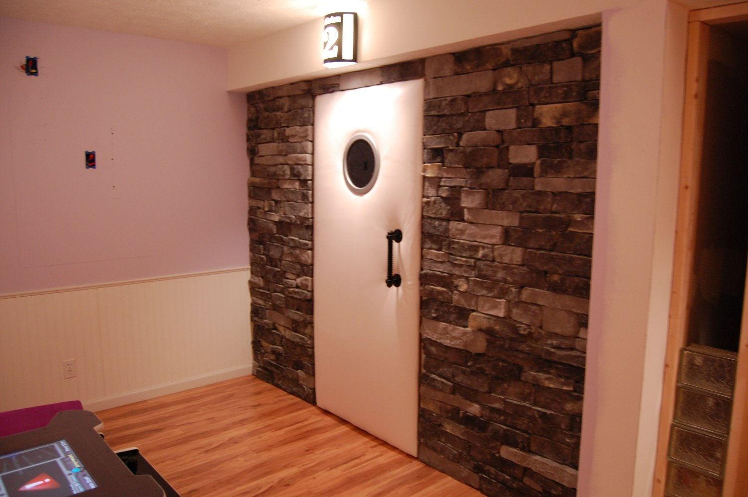 Stonecraft Kingsford Grey Drystack Ledgstone. Leather Padded Door With  Smoked Mirror And Forged Iron Castile Door Handle