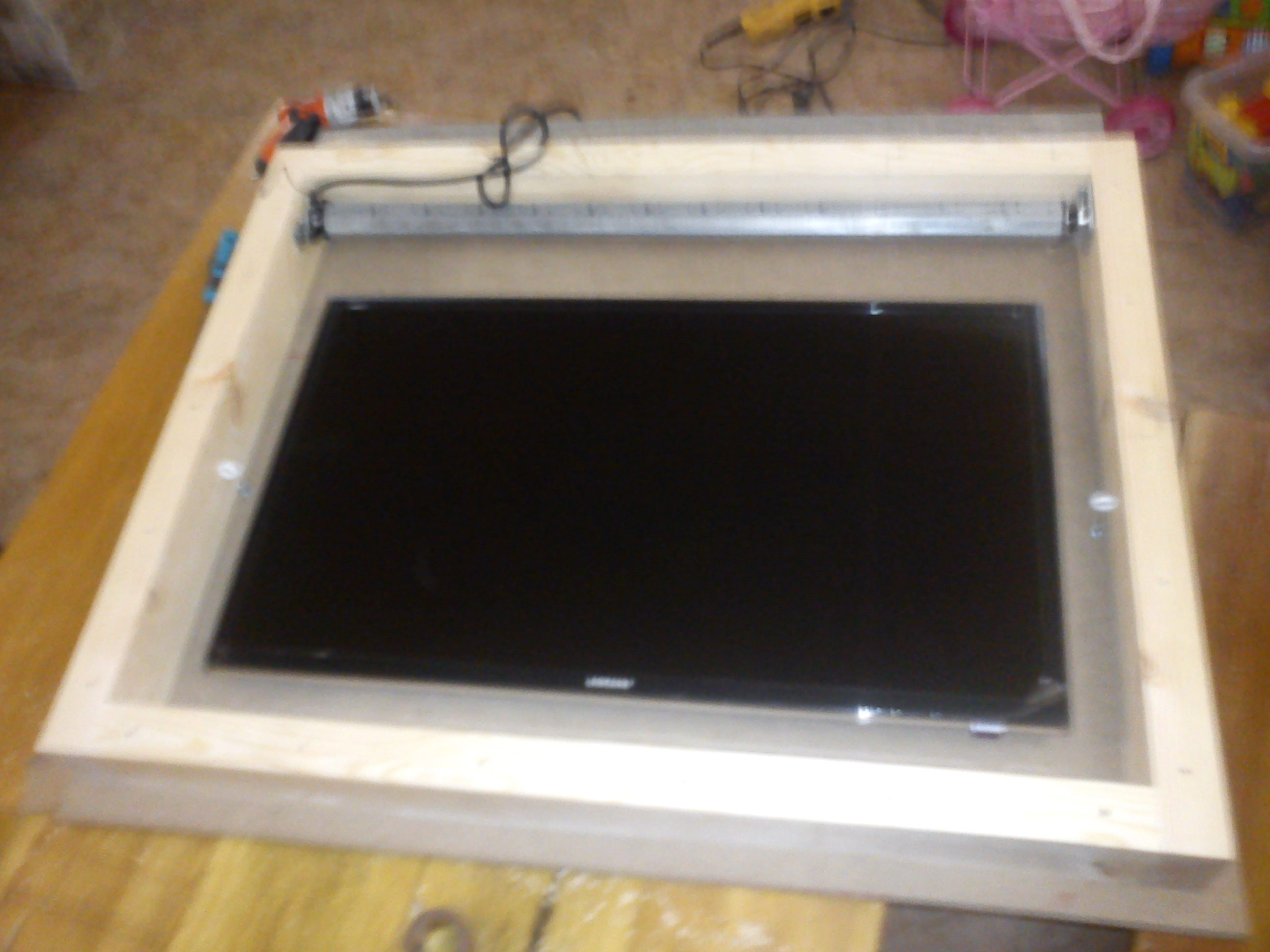 Flip Down Ceiling Mount For 40 50 Tv Anyone Try To Diy Avs Forum Home Theater Discussions And Reviews
