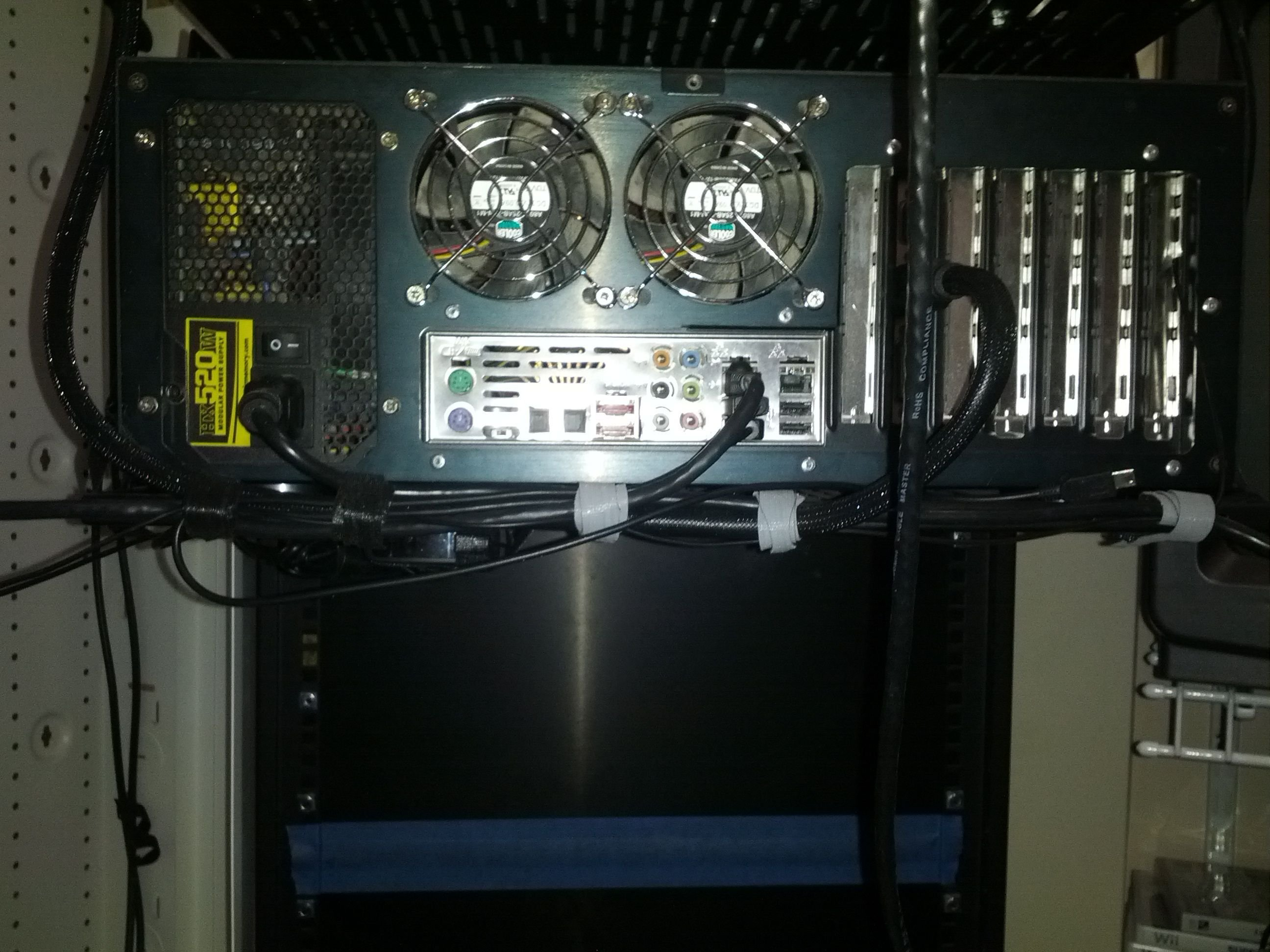 My Home Theater Rack And Equipment Room Avs Forum Bypass Wiring Cabinet With Speaker Wire Here Is The Back Of Apc S20blk Ht Battery Backup There A Lot Stuff Goign To This Some It Just Small Like Ir Repeater