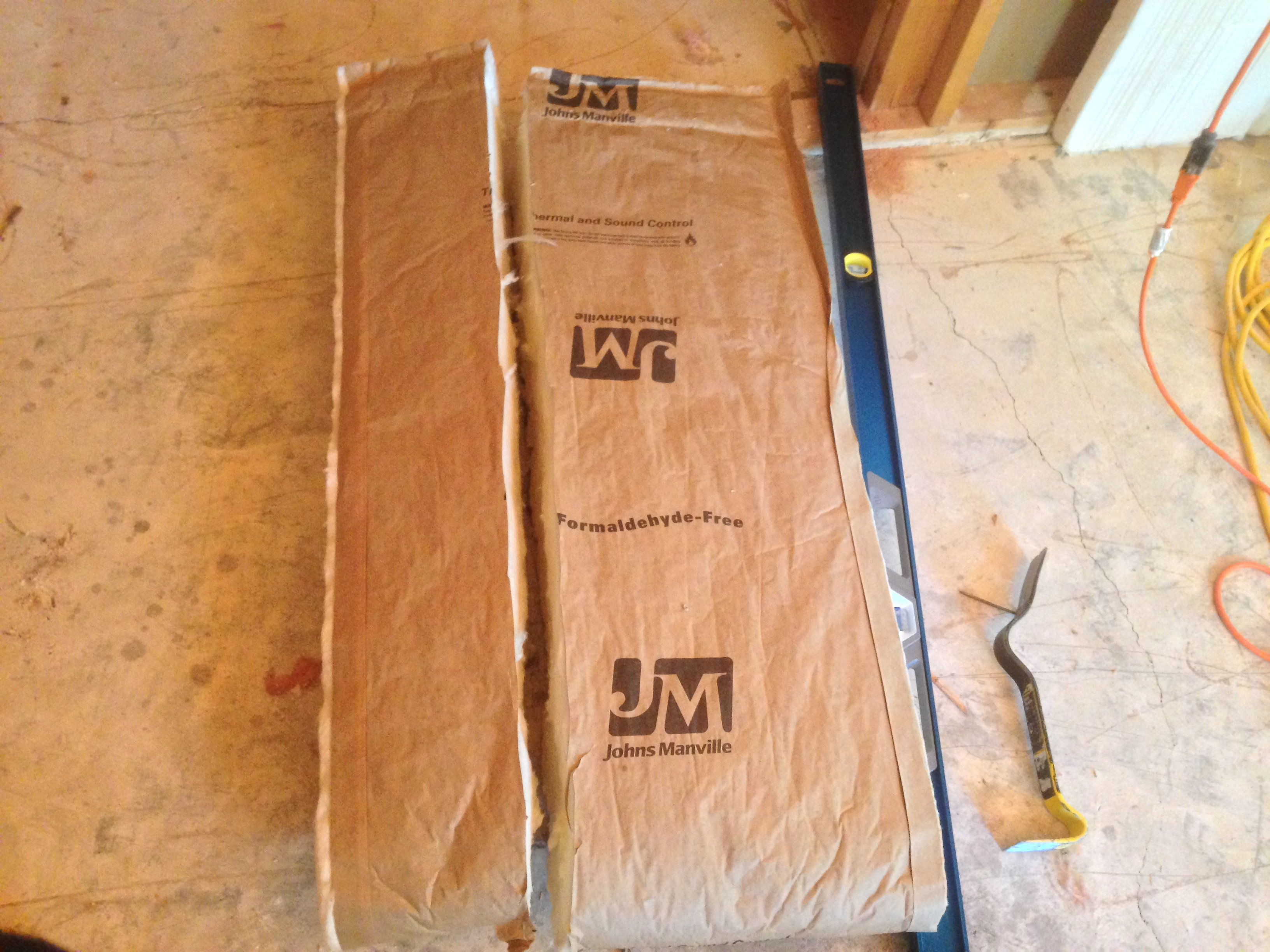 Cut insulation into two pieces