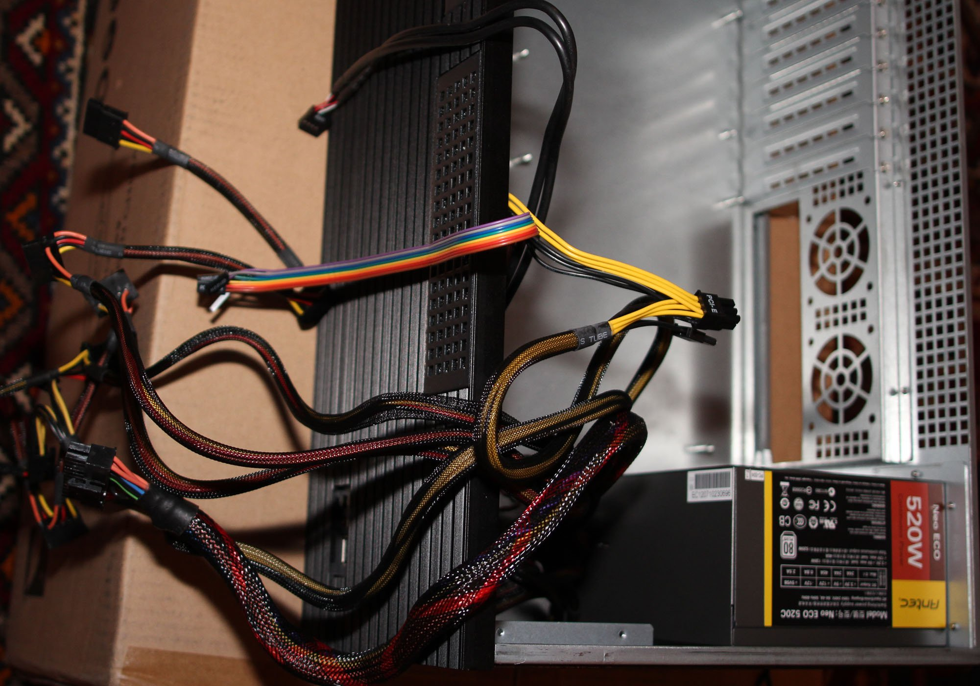 Htpc Make That Ht Gaming Workstation Build Thread Avs Forum Bypass Wiring Cabinet With Speaker Wire Home Theater Motherboard Fits But Barely And I Have To Shove Wires Under The Front Fans Had Go 2 Be Able Connect Sata Cables