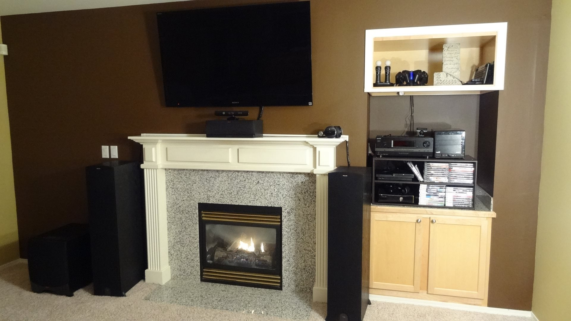 SONY 55HX820 3DTV MOUNTED ABOVE FIREPLACE