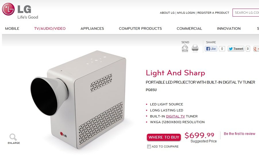 lg portable projector price