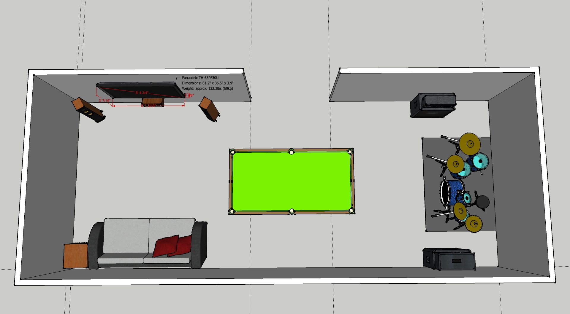 Yet Another 51 Speaker Placement Thread Avs Forum Home Theater Basic Diagram Of Setup For Channel Surround Sound Room Is 32x13