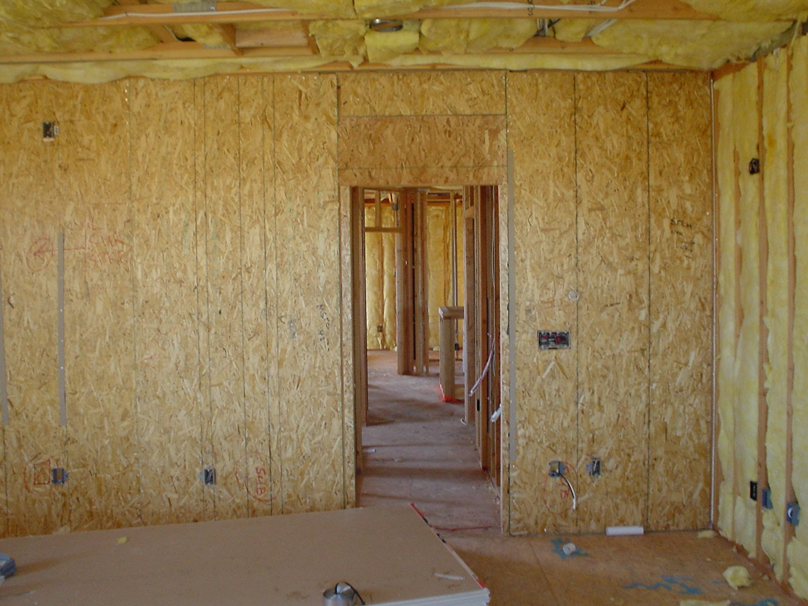 Entrance to theater, left front corner of room in construction.