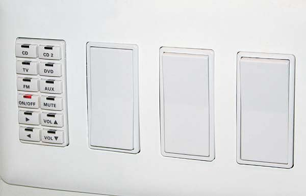 I put a 12 button keypad for source selection and volume control in the same gang with light switches with a low-voltage ider. & PJ wires: Dual High + Low Voltage Combo Wall Plate or two seperate ... azcodes.com