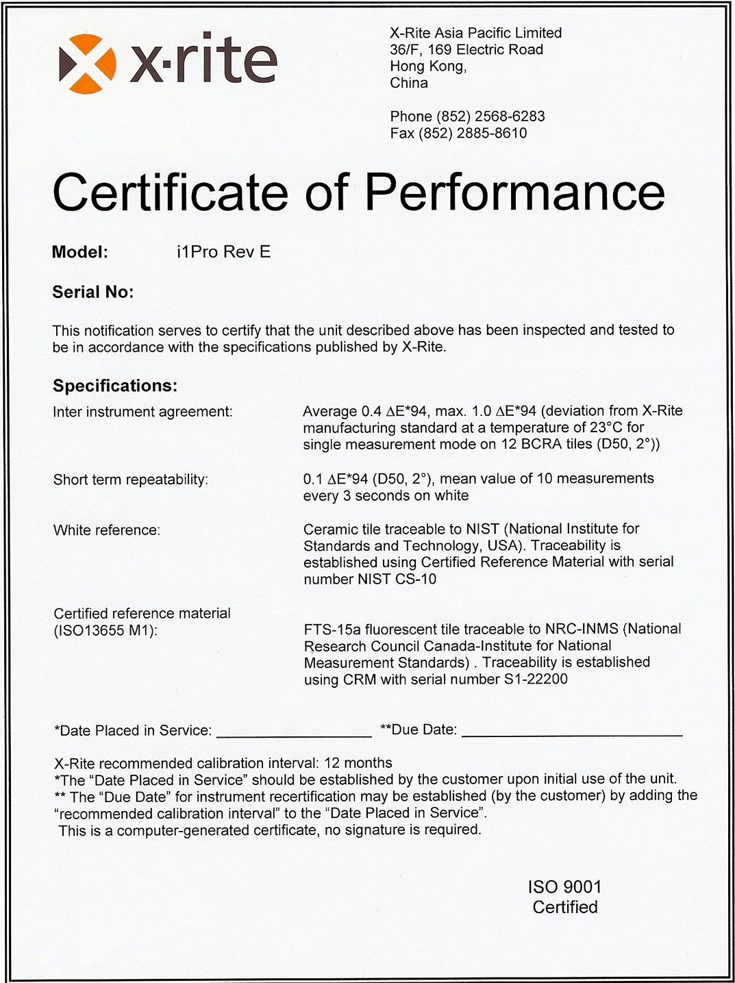 Sending in an i1 pro for nist recertification avs forum home x rite i1pro2 nist certification of performance reflectance mode printingpaper industry not emissive mode displays meter made in china certified in 1betcityfo Choice Image