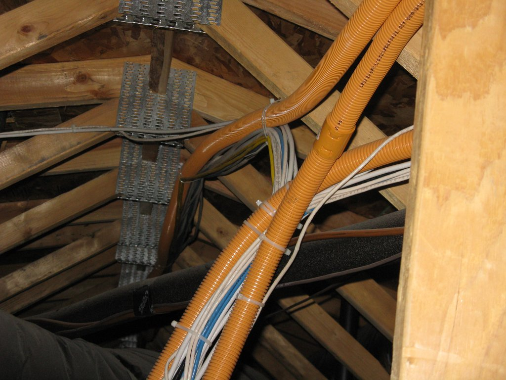 Snaking Ethernet Cables In A House Avs Forum Home Theater Wiring Junction Box Attic It Doesnt Seem From My Distant View That Any Wires Are The Orange Tubing So Looking These Pics Would Be Fairly Easy To Snake Wire