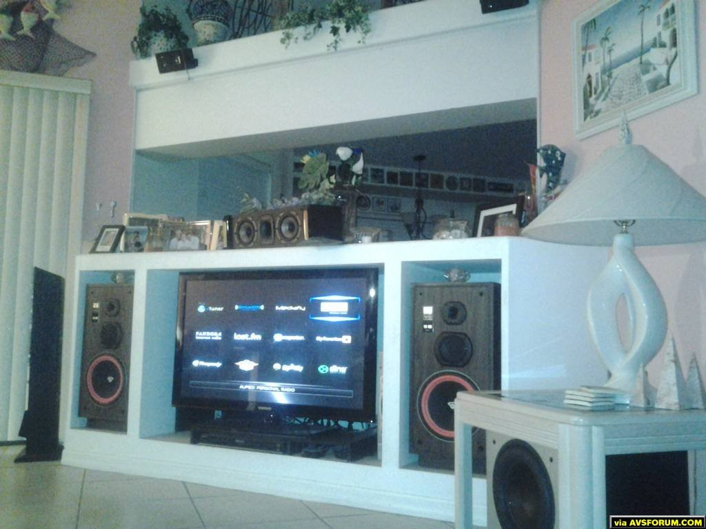 Onkyo TX-NR609, Cerwin Vega VS-100, Cerwin Vega CMX-25C, Insignia IS- SP3WAY( Height), Polk Audio PSW505 Sub, #2 Sub Polk Audio(not in pic) PSW505 #3 Sub Polk PSW10 (not in pic) , Cerwin Vega XLS-6 Surrounds ( not in pic) Samsung PN45042C, Sony BDP S590 , WDTV LIVE, Roku 3
