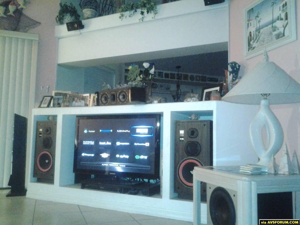 Onkyo TX-NR609, Cerwin Vega VS-100, Cerwin Vega CMX-25C, Insignia IS- SP3WAY( Height), Polk Audio PSW505 Sub, #2 Sub Polk Audio(not in pic) PSW505 #3 Sub Polk PSW10 (not in pic) , Cerwin Vega XLS-6 Surrounds ( not in pic) Samsung PN45042C, Sony BDP S590 , WDTV LIVE, Roku 3