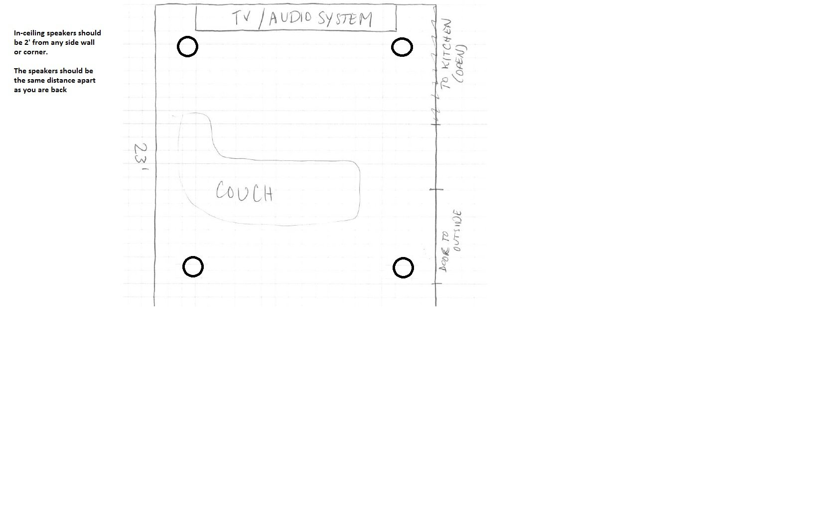 4 In Ceiling Speaker Placement 21x23 Room Avs Forum Home Surround Sound On 5 1 Setup Diagram I Asked Crutchfield To Come Up With An Ideal And They Responded This
