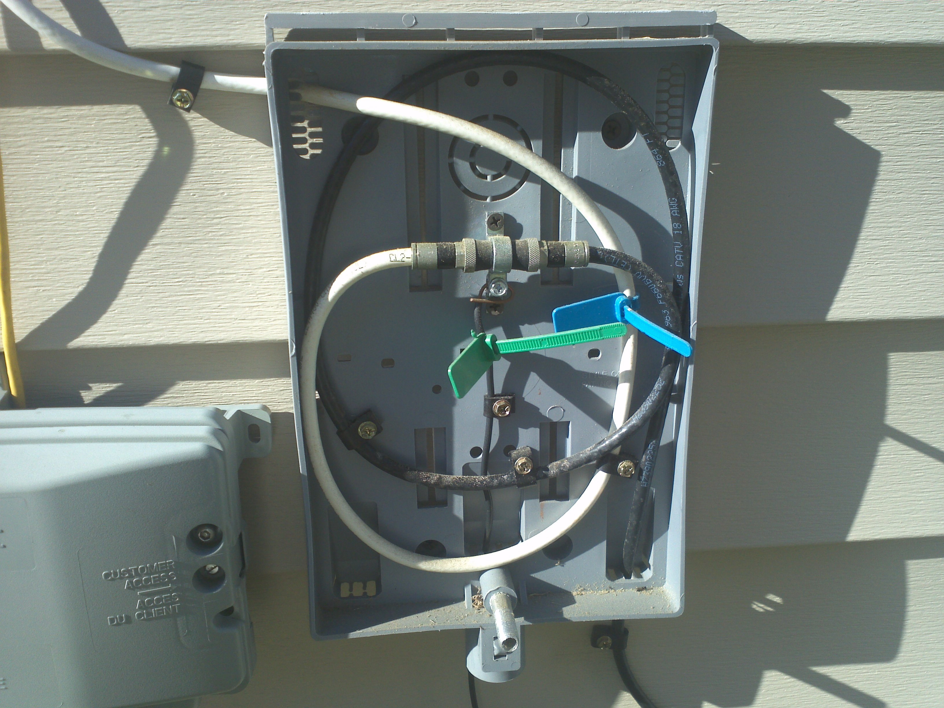 Exterior Cable Tv Junction Box wiring How do I properly feed coax