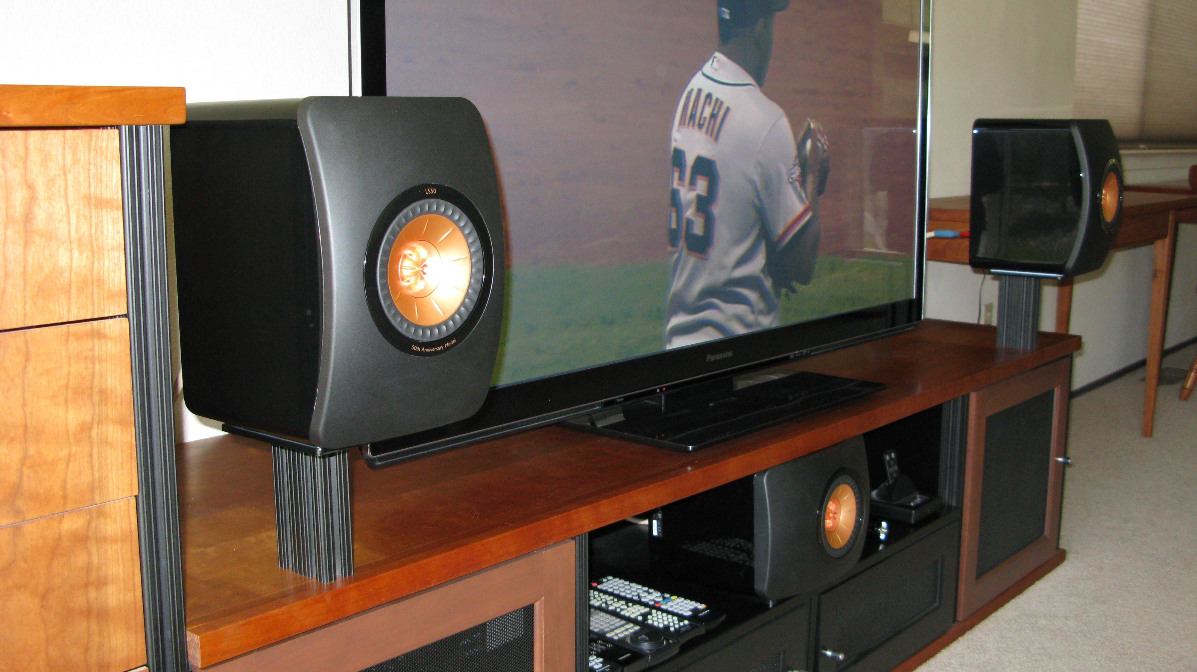 kef ls50 home theater. new pictures with proper stands! kef ls50 home theater w