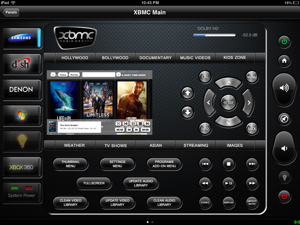 a full fledged web interface page can be opened up on pressing the xbmc logo on the top xbmc is programmed using json rpc codes in eventghost